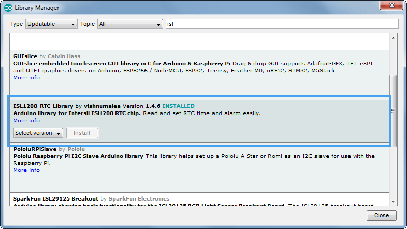 ISL1208-Arduino-Library-Manager-Screenshot