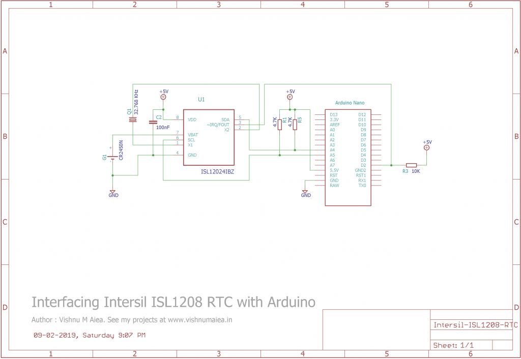 Interfacing-Intersil-ISL208-RTC-Arduino-Schematic