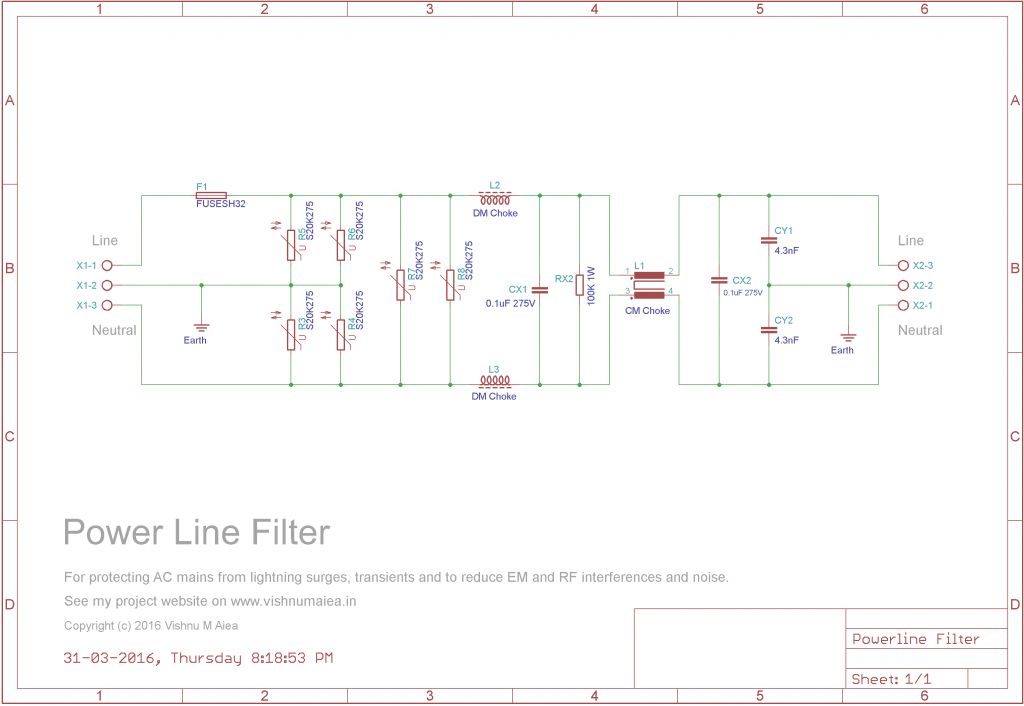 AC Line Filter and Surge Protector schematic